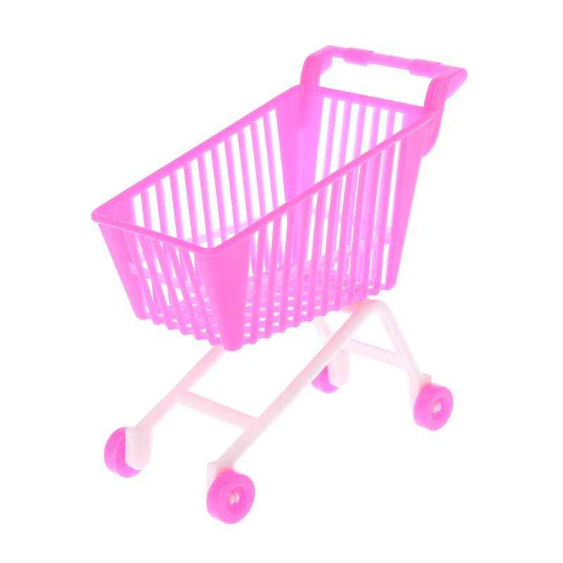 1PC Simulation Shopping Cart Plastic Cute Miniature Mini Supermarket Storage Hand Truck Pretend Toys