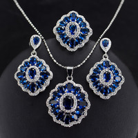 Bilincolor Blue trendy cubic zirconia fashion party statement necklace and earring bridal jewerly set for women