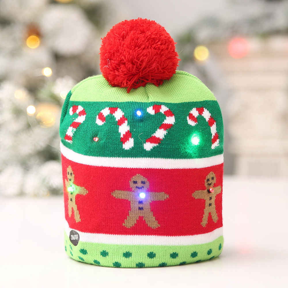 be40e38f0ab8b ... LED Christmas Beanie Ugly Christmas Sweater Christmas Tree Beanie Light  Up Knitted Hat for Children Adult ...