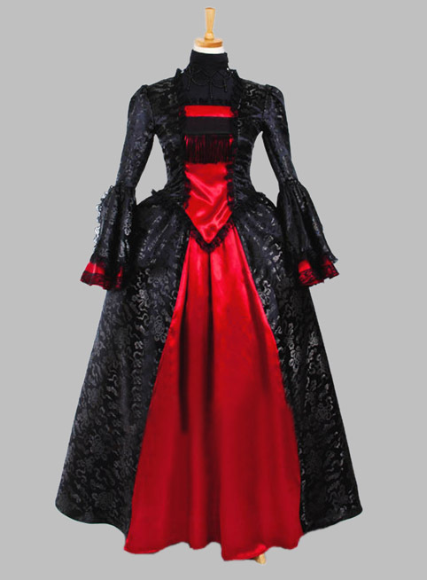 Gothic Black and Red Brocade Satin and Silk-like Victorian Era Dress Party Dress Cosplay Dress