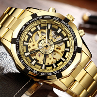 Luxury Brand Luminous Automatic Mechanical Watch Stainless Steel Skeleton Dial Wrist Watch Fashion Casual Business Men