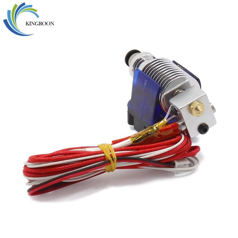 V6 Hotend extrusor Kit 3D impresoras parte ventilador soporte bloque Thermistors boquilla 0,4mm 1,75mm filamento Bowden partes