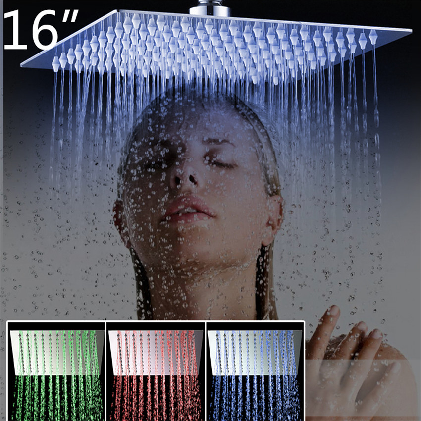 YANKSMART 3 Colors LED Perfect Luxury Hot Sale LED Square Rain 16 Shower Head Wall Ceiling Mounted Top Over-head Shower Sprayer 12 led square rain shower head wall mounted shower arm w shower hose top over shower sprayer