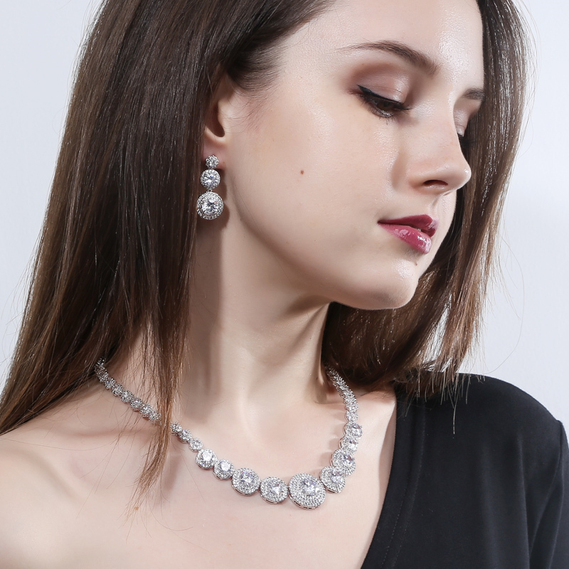 Image 2 - CWWZircons Gorgeous African Cubic Zirconia Luxury Dubai Arab Gold  Color Filled Wedding Necklace Earrings Jewelry Sets T319Bridal Jewelry  Sets