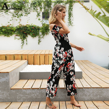 Sexy Jumpsuits Women Summer Boho Short Sleeve Playsuit Strapless Floral Print Rompers Womens Jumpsuit Long Trousers Pants