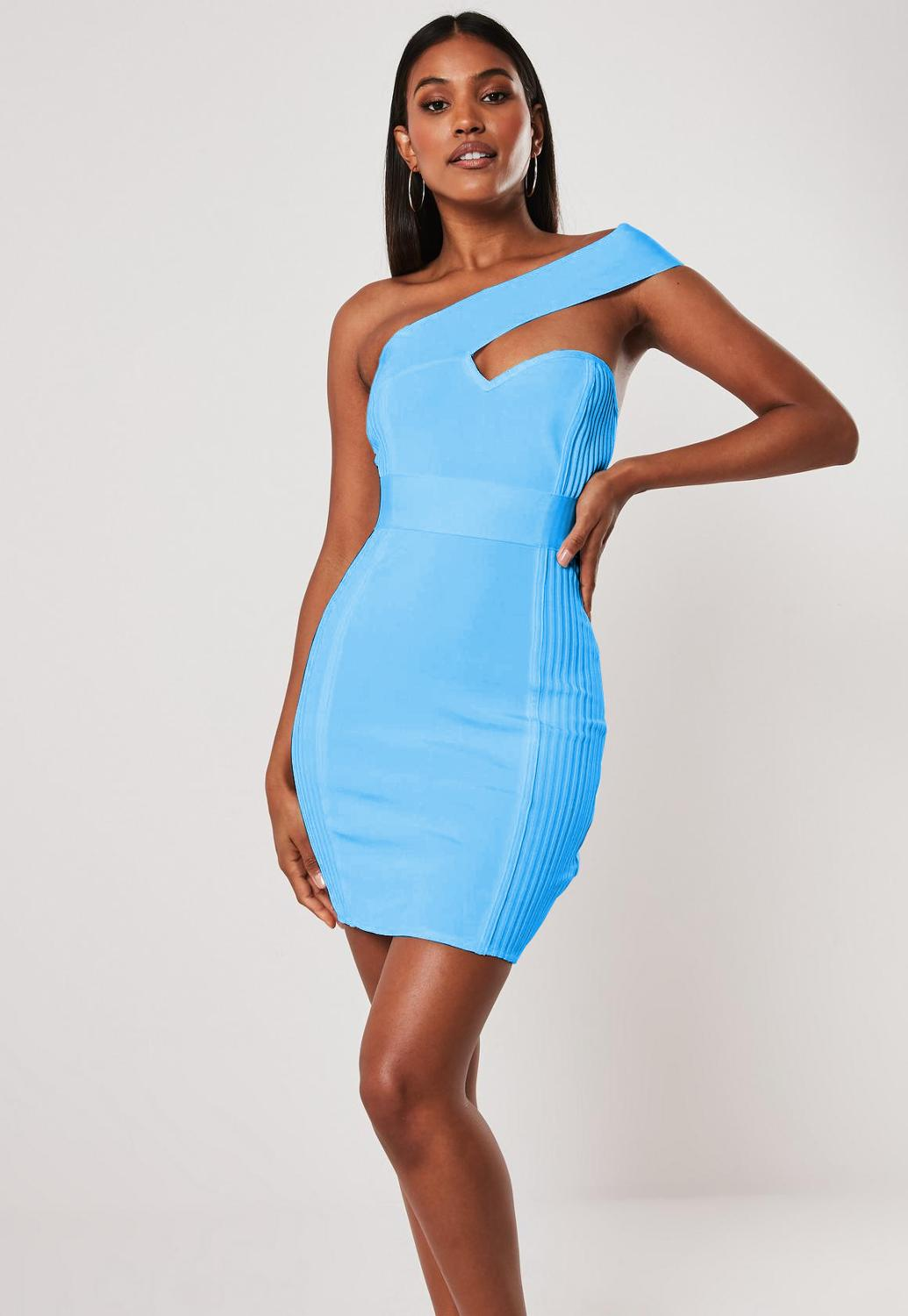 Top Quality Skyblue and Pink Color Ladies HL Bandage Dress One Shoulder Sexy Bodycon Mini Dress Club Night Dress
