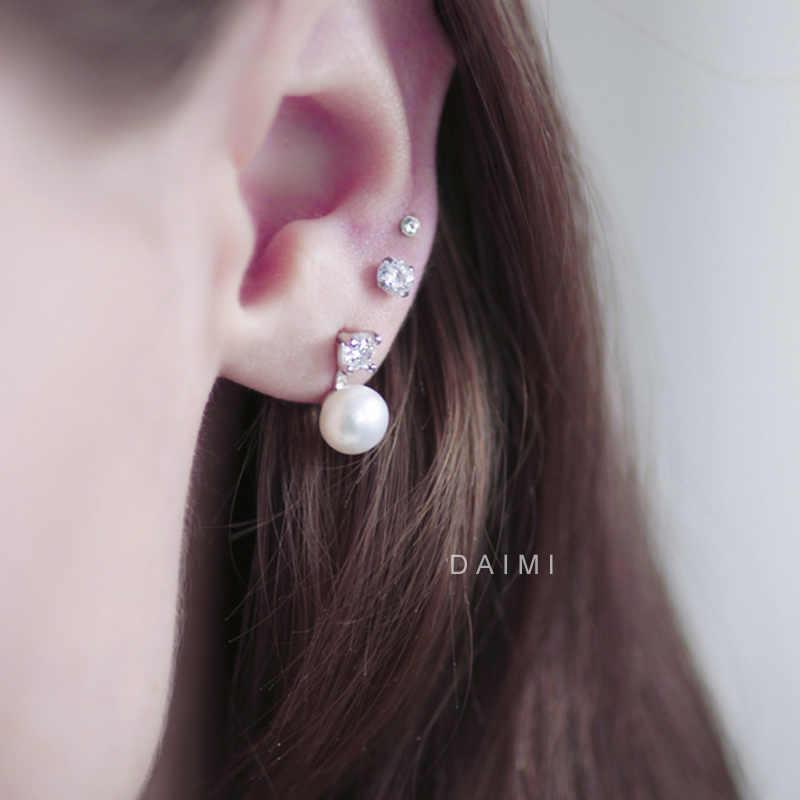 Daimi Hoki Anting-Anting Stud 925 Perak Anting-Anting Mutiara Anting-Anting Perhiasan Hadiah untuk Wanita Baru Putih/Berwarna Merah Muda/Ungu/Hitam
