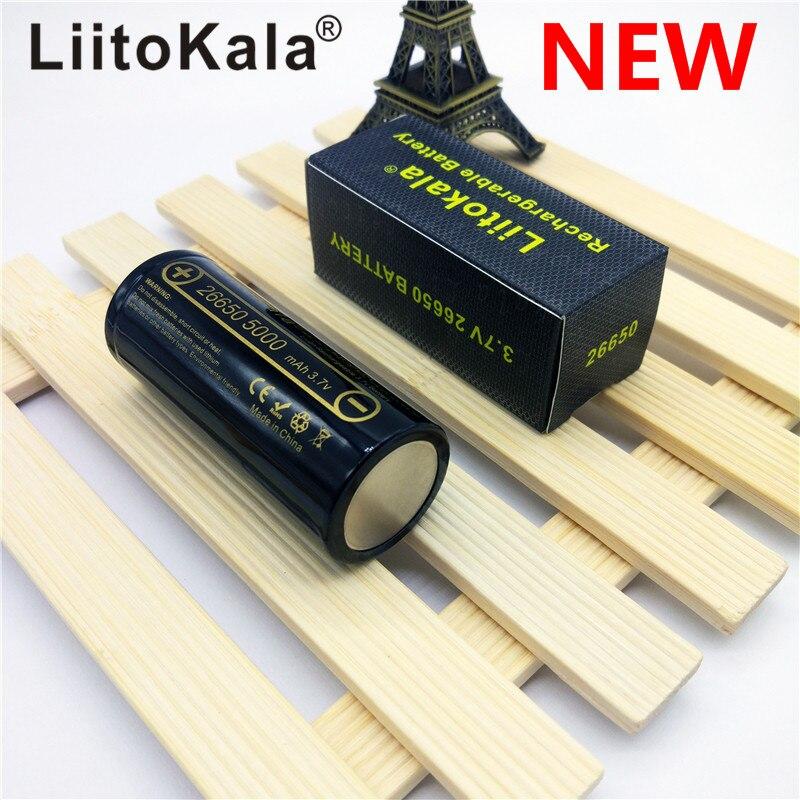 HK LiitoKala lii-50A 26650, 5000 mAh batería de litio de 3,7 V 5000 mAh 26650 batería recargable 26650-50A adecuado para flashligh nuevo