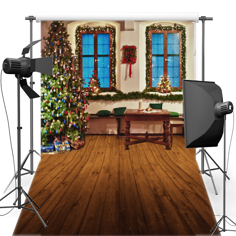 MEHOFOTO Tree New Fabric Flannel Photography Background Merry Christmas Backdrop Vinyl For Family photo shoot ST440
