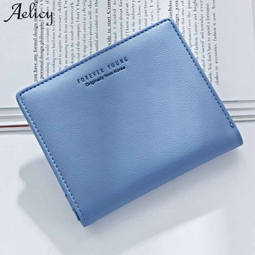 Aelicy PU Leather Letter Women Clutch Short Purse Wallet Famous Brand Wallet Women High Quality 2018 New Mini Wallet Female moana maui high quality pu short wallet purse with button
