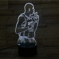 2018 New NBA Basketball star kobe 3D led night Light colorful table Lamp Cute Light Star Master Kids Lights Lamps Dormitorio