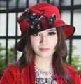 Бесплатная доставка мода женщины Hat бархатная шляпа зима красный девушка ленты отпуск форма аксессуары для волос дамы церковь Hat высокое качество