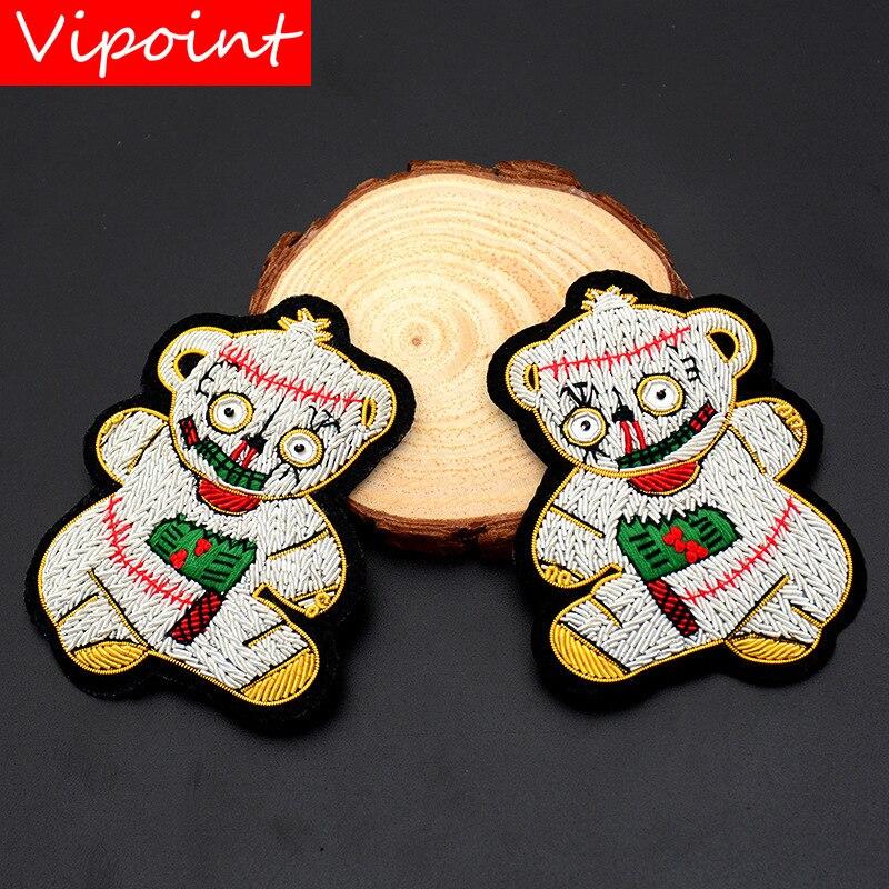 VIPOINT Inde soie ours patches perlé animal patches badges applique correctifs pour vêtements SK-120