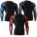 T-shirt dos homens de Mangas Compridas Skinny Collants Camada De Base De Compressão Camisas para Fitness & Exercise Musculação Encabeça Camisa Impressão 3D