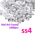 Super Shiny 1440PCS SS4 (1.5-1.6mm) Clear Glitter Non Hotfix Crystal Color 3D Nail Art Decorations Flatback Rhinestones
