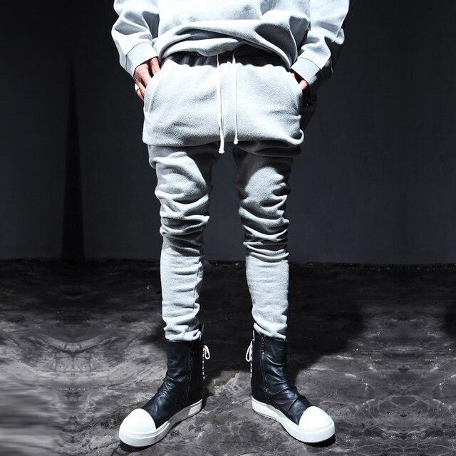 Человек панк темно моды эластичный пояс харен брюки уличная мода slim fit повседневные брюки хип-хоп брюки бегунов тренировочные брюки K810