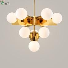 Nordic Lustre Plate Gold Metal Led Chandelier G9 Luminaria Glass Globe Pendant Indoor Lighting Lampapras Fixtures