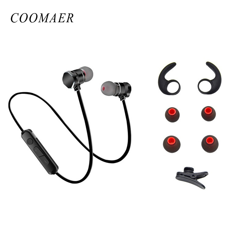 Magnetic Bluetooth Stereo Bass In Ear Wireless Earphones Sport Running Hands Free Headphones With Microphone For Phone Headset