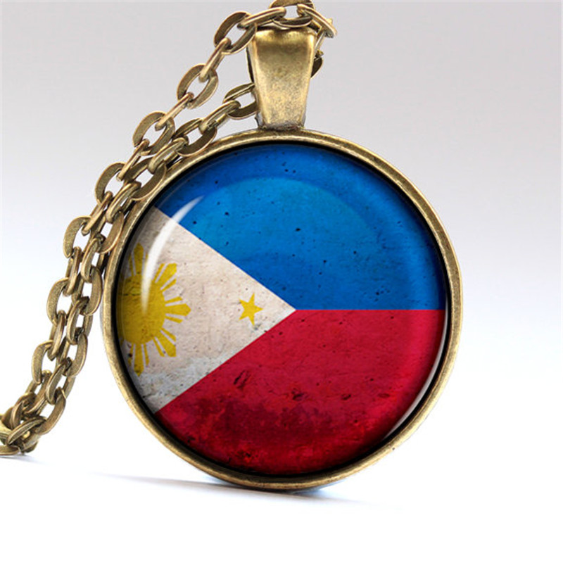 DIY Flag Jewelry & Accessories Vintage Handmade Necklace Philippines Flag Glass Dome Pendant Silver & Bronze Chain Necklaces