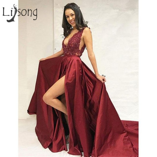 23bed4f2fc1 Sexy Burgundy Prom Dresses 2019 Lace Beaded A-line Prom Gowns High Side  Split Deep V-neck Red Formal Dress Vestidos De Fiesta