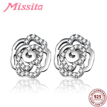 купить MISSITA 100% 925 Sterling Silver Clear CZ Rose Pattern Earrings For Women Silver Jewelry Brand Stud Earrings Hot Sale дешево