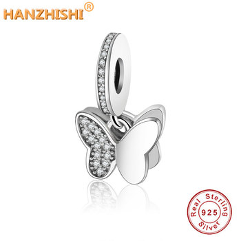 3492e9bcbd42 100% cuentas de plata de ley 925 mariposas colgantes dije Fit Original  Pandora Charms pulsera ...