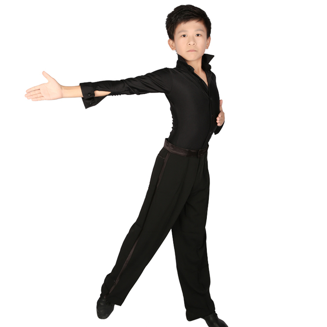 61cb48bf6d38 Professional Stand Collar Latin Dance Shirt Boys Adult Long Sleeve Black  Slim Dance Tops Leotard Dance