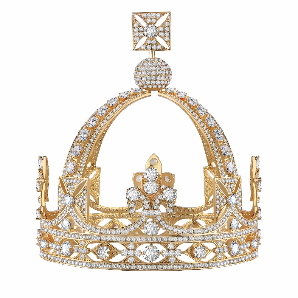 5 Inch Height Royal Vintage New Arrival Cubic Zircon CZ Stone Medieval Tiaras Crown medieval handgonnes
