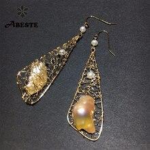 ANI 14K Roll Gold Fashion Handmade Women Earrings Southern Pacific Ocean Pearl Drop Earring Dangle aretes