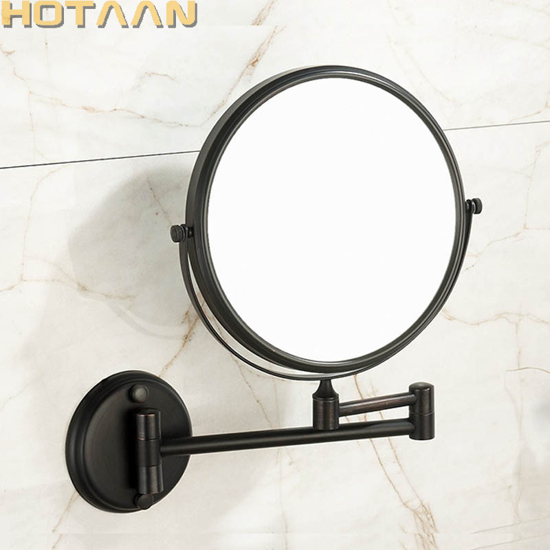 oil rubbed bronze  8 Double Side Bathroom Folding Brass Shave Makeup Mirror Wall Mounted Extend with Arm Round 3x Magnifying oil rubbed bronze square toilet paper holder wall mounted paper basket holder