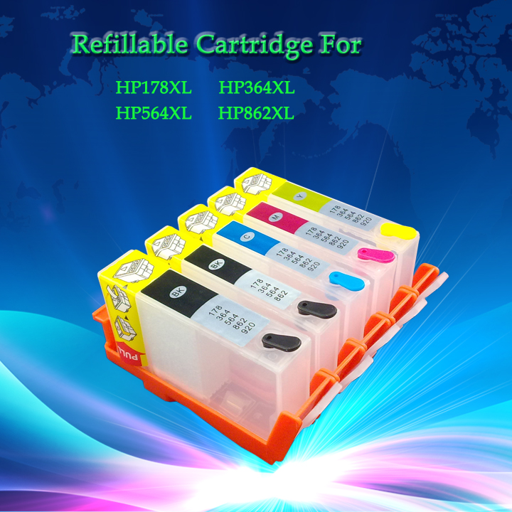 цена  Empty Refillable Ink Cartridge For HP ink cartridge model number: 364 / 564 / 178 / 862   5pcs/set  without chip  онлайн в 2017 году