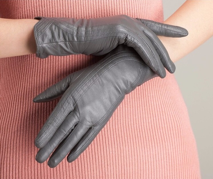 High Quality Women Genuine Sheepskin Winter Women Leather Gloves Lady knitting lined Warm Winter Mittens women gloves 55