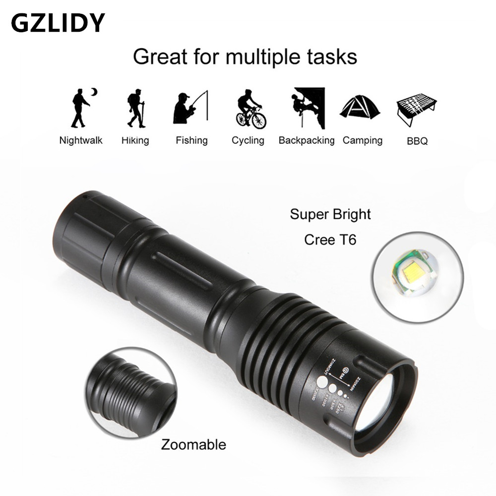 High Bright 3800 Lumens CREE XM-L T6 LED Flashlight 5-Mode Zoomable linternas LED Torch by 1*18650 or 3*AAA Free shipping pocketman 9000 lumens high power 5 mode cree xm l t6 l2 led flashlight zoomable rechargeable focus torch by 1 18650 or 3 aaa z92
