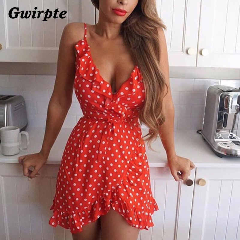 Stars Print Camis Dress Women Sexy White Wrap Bodycon Rustic Casual Summer Style Boho Resort High Waist Red Polka Dots Dresses