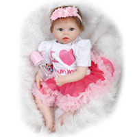 Nicery 22inch 55cm Reborn Baby Doll Magnetic Mouth Soft Silicone Lifelike Girl Toy Gift For Children