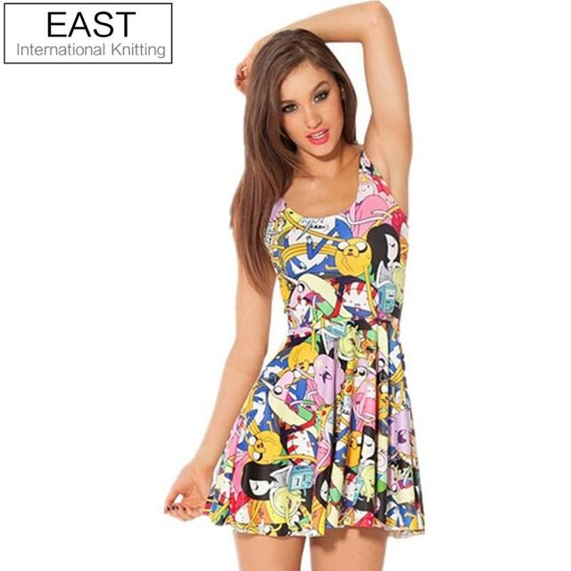 EAST KNITTING fashion X-014 CALIENTE Mujeres impresión digital plisado Adventure Time Bro Bola Reversible Vestido Skater Sml XL Tallas grandes