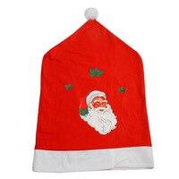 כיסויי כיסא 4 pc לא ארוג סנטה כובע חג מולד דקור חג המולד שווי סטי ארוחת ערב אדום