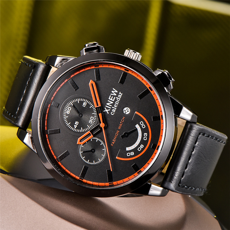 New Arrive Fashion Watches Men Creative Decorated Dials Quartz Watch PU Leather Male Teenager Boy Big Wristwatch Relojes Hombre