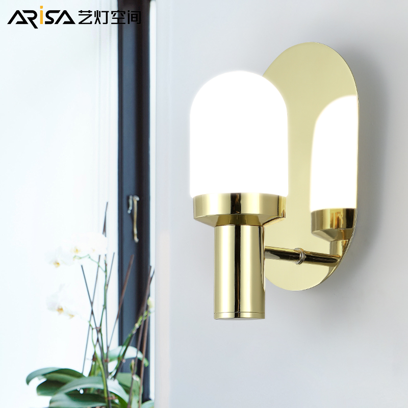 LED wall sconces Nordic Lighting Fixtures Modern simple living room wall lights aisle glass creative bedroom wall lamps 2 lights modern creative metal wall light simple glass shade wall sconces fixtures lighting for hallway bedroom bedside wl282 2