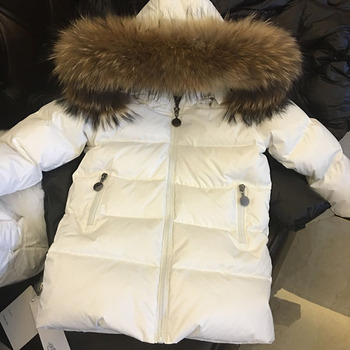 Children's baby boys and girls down jacket Natural raccoon fur collar removable 2-12 years old