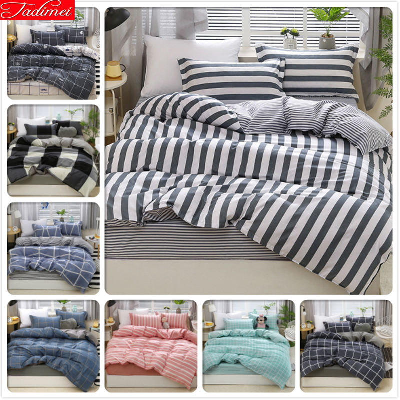 Grey White Stripe Duvet Cover 3/4 Pcs Bedding Set Adult Double Big Size Quilt Comforter Case Bed Linen Queen King Size 200x230cm