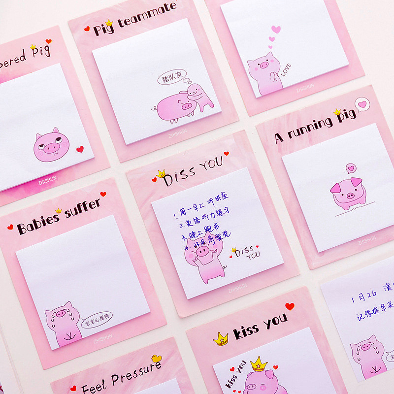 Cute Kawaii  Pink Pig Creative Memo Pad Sticky Notes Memo Notebook Stationery Post Note Paper Stickers Office School Supplies