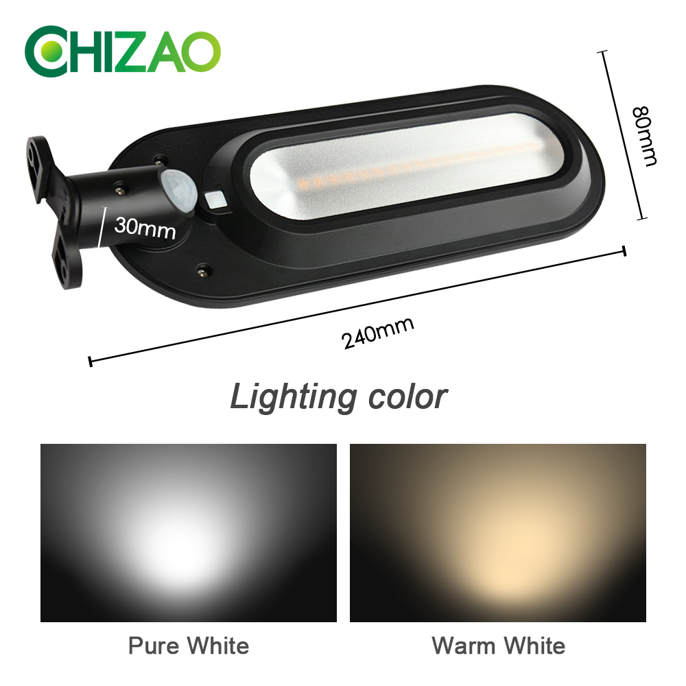 CHIZAO Eco Friendly and Wall Mounted Outdoor Solar Charge Motion Sensor LED with 600 Lumens 2