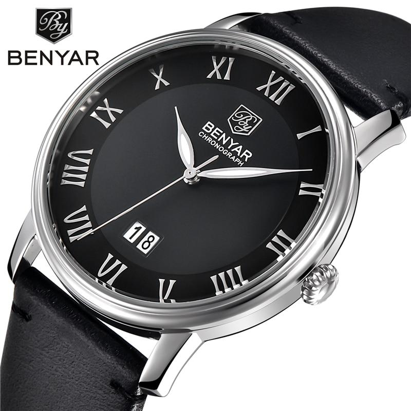 Casual Mens Watches Top Brand Luxury Men's Quartz Watch Waterproof Sport Military Watches Men Leather Relogio Masculino Benyar