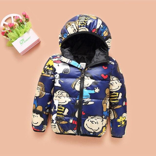 Мультяшном стиле 2016 новых Новорожденных Девочек Мальчиков Белый Duck Down Зимняя куртка Девушки Теплый Мода Вниз Пальто девушки Вниз Парки T0220