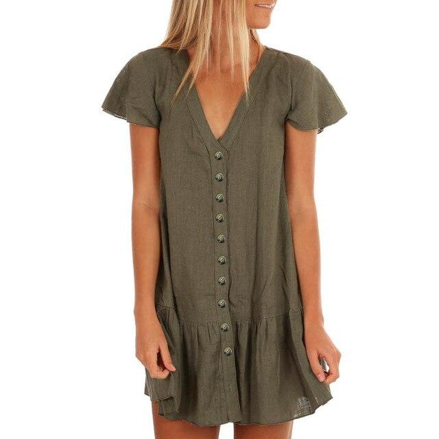 75a972db19c V-Neck Ruffle Cotton Linen Boho Mini Dress Women Beach Button Down Sundress  Draped A Line Mini Dress Short Sleeve Dresses 21