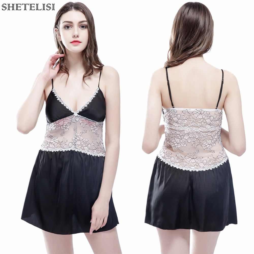 SHETELISI/Новинка; кружевная атласная шифоновая женская ночная рубашка; облегающая ночная рубашка со съемными нагрудники; sp0052
