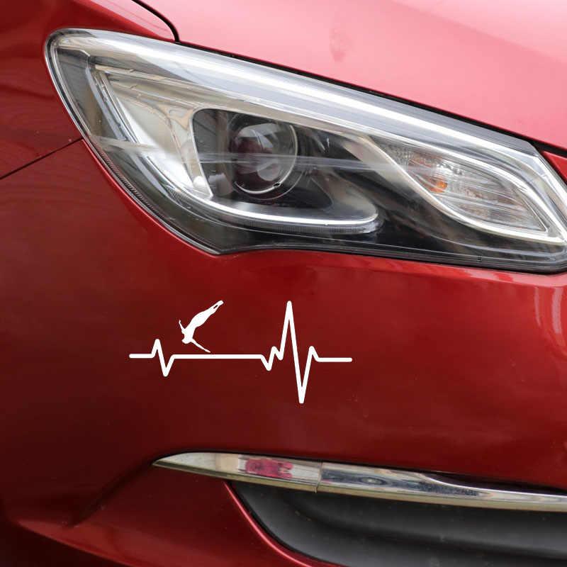 YJZT 16.6 CM * 7.7 CM גבוהה צלילה קליף פלטפורמת בחור פעימות לב מדבקות ויניל שחור/כסף רכב מדבקת C22-1242