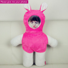 Provide photo Red rabbit  doll cushion Real human pillows Christmas decorations diy gift Birthday Valentines Day