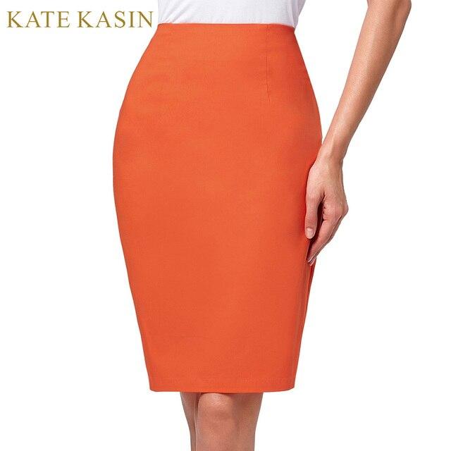 176085d9694f Kate Kasin Orange Skirt Women 2017 Winter OL Office Work Midi Pencil ...